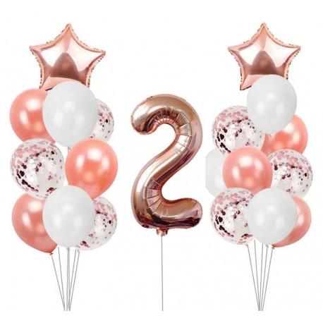Tweede Verjaardag.Ballonmix Voor De Tweede Verjaardag Van Een Meisje In De Kleuren Wit En Rose Goud
