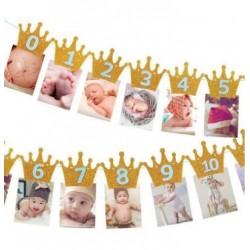 Milestone foto banner gouden kroontjes met blauwe letters