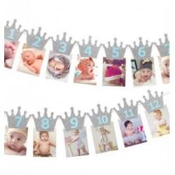 Milestone foto banner zilveren kroontjes met blauwe letters