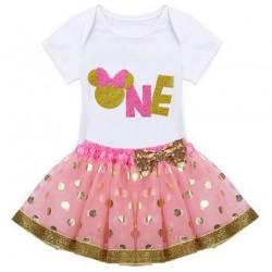 Driedelig 1e verjaardag setje Minnie Mouse in de kleuren roze, wit en goud