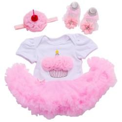 Driedelige wit roze baby's eerste verjaardags set