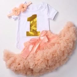 Driedelig 1e verjaardag setje One de Luxe peach