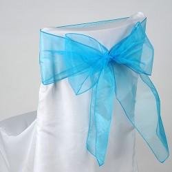 Organza stoelstrik per stuk of per pak met 6 stuks turquoise