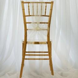 Organza stoelstrik per stuk of per pak met 6 stuks ivoor