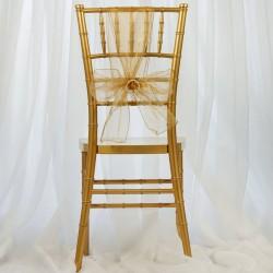 Organza stoelstrik per stuk of per pak met 6 stuks goud