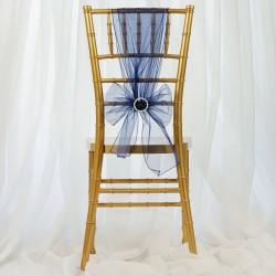 Organza stoelstrik per stuk of per pak met 6 stuks navy blue