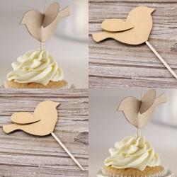 Pak met 12 vintage 3D kraft cupcake prikkers Bird