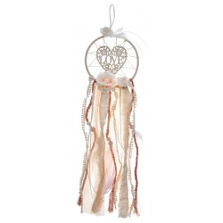 Dream catcher Love, heart and roses in wit en blush pink