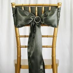 Satijnen stoelstrik per stuk of per pak met 10 stuks laurier groen