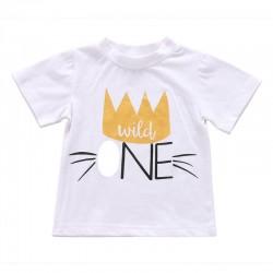 T-shirt Wild One wit met gouden en zwarte opdruk