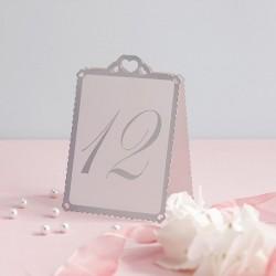 Pak met twaalf tafelnummers Love Struck wit met zilver