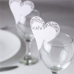 Glasdecoratie kaarten Vintage Lace White Hearts