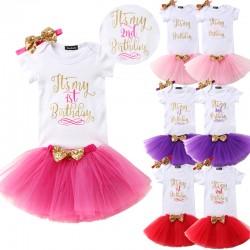 Driedelig 1e of 2e verjaardag setje in de kleuren wit, goud met rood, paars, licht of donker roze