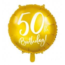 Goudkleurige folie ballon 50 jaar