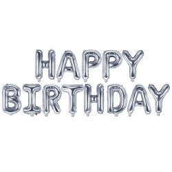 Folie ballonnen set Happy Birthday zilver