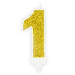 Gouden glitter kaars nummer 1