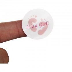 Sticker It's a Boy of It's a Girl met een doorsnede van 3,5 cm