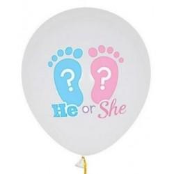 Ballonnen gender reveal wit met roze en blauw babyvoetje met wit vraagteken