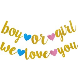 Banner Boy or Girl en I Love You set van 2 glitter slingers