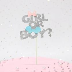Boy or Girl taart topper Mickey en Minnie zilver