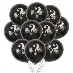 Ballonnen gender reveal zwart met in wit de tekst Girl or Boy met een vraagteken