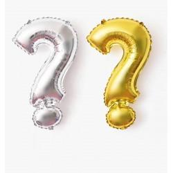 Folie ballon in de vorm een groot gouden of zilveren vraagteken
