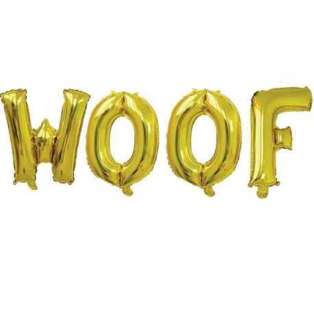 Folieballonnen set Woof zilver of goud