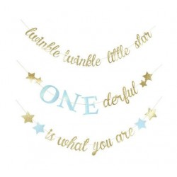 Driedelige banner set Twinkle twinkle little star ONEderful is what you are blauw