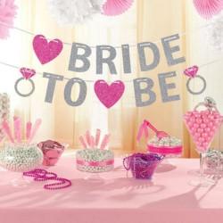 Banner Bride to Be zilveren glitter letters met roze hartjes en trouwringen