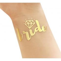 Goudkleurige tijdelijke tatoeage Bride met diamant