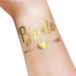 Goudkleurige tijdelijke tatoeage Bride met een pijl