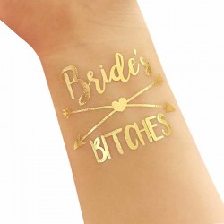 Goudkleurige tijdelijke tatoeage Bride's Bitches