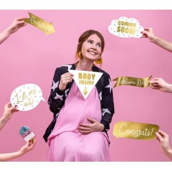 Babyshower fotoprops baby love gold