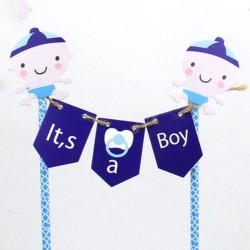 Grappige blauwe taart topper It's a Boy