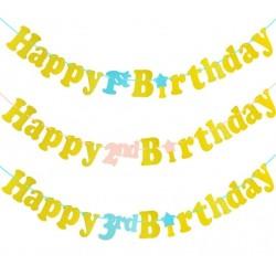 Banner Happy 1st of 2nd of 3rd Birthday goud glitter met roze of blauw