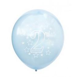 Ballonnen 2 jaar licht blauw met witte opdruk