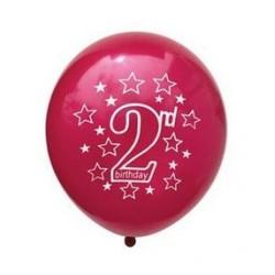 Ballonnen 2 jaar donker roze met witte opdruk