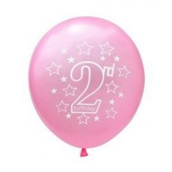 Ballonnen 2 jaar licht roze met witte opdruk