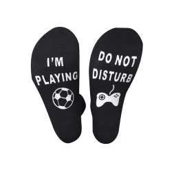 Fun socks zwart met in wit de tekst Do not Disturb I'm Playing