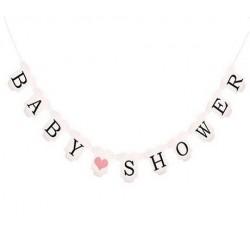 Banner babykleertjes Babyshower met roze hartjes