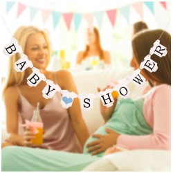 Banner babykleertjes Babyshower met blauwe hartjes