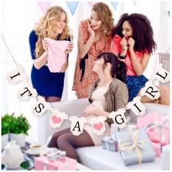 Banner babykleertjes It's a Girl met roze hartjes