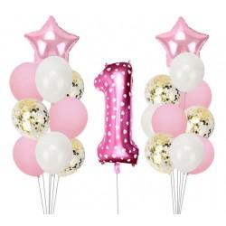 Ballonmix voor de eerste verjaardag van een meisje in de kleuren wit, roze en goud