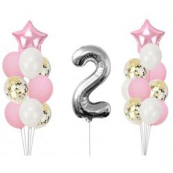 Ballonmix voor de tweede verjaardag van een meisje in de kleuren wit, roze en zilver