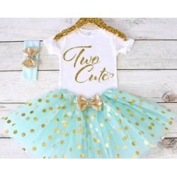 Driedelig tweede verjaardag setje Two Cute mint, wit en goud