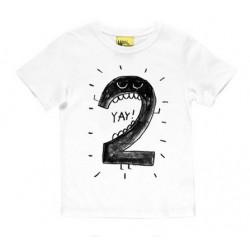 T-shirt wit met zwarte opdruk YaY ik ben twee
