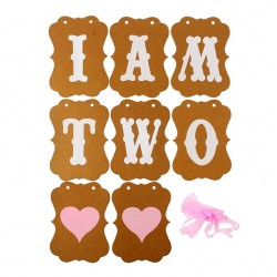 Retro banner I am Two roze