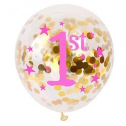 Doorzichtige met gouden confetti gevulde ballon eerste verjaardag roze