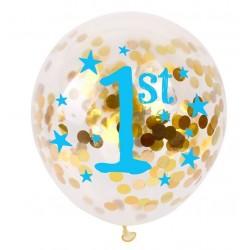 Doorzichtige met gouden confetti gevulde ballon eerste verjaardag blauw