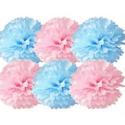 Blauwe en roze pompom combinatie